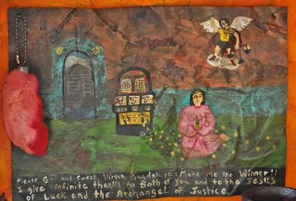 "detail, retablo painting; ""Please God Make Me a Winner"""